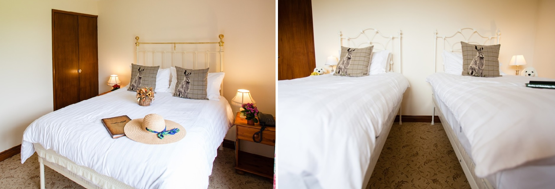 The bedrooms in the Garden Rooms - Family Accommodation in the Cedar Lodge
