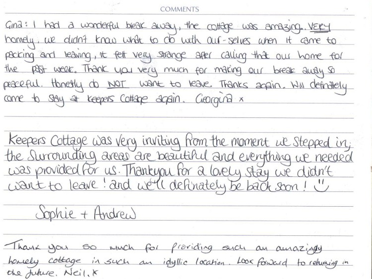 Holiday Cottage Guest Feedback